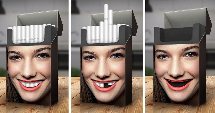 تصویر پاکت سیگار که عکس زنی رویش است. زمانی که همه سیگارها دست نخوره اند دندان های زن همگی سفید و سالمند اما کم کم که سیگار مصرف میشود دندان های یکی یکی از بین میروند و در تاثیر سیگار بر دندان ها زمانی که همه سیگار ها کشیده شده اندواضح است. هیچ دندانی باقی نمانده